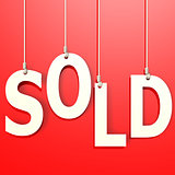 Sold word in red background
