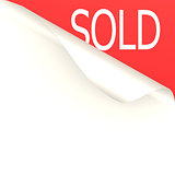 Sold word with white paper