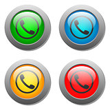 Phone handset icon glass button set