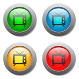 TV icon set on glass buttons