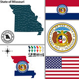 Map of state Missouri, USA