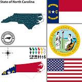 Map of state North Carolina, USA