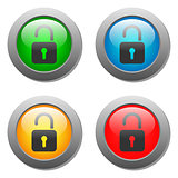 Open lock icon on glass buttons