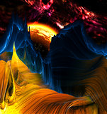 Alien Mountains with space background
