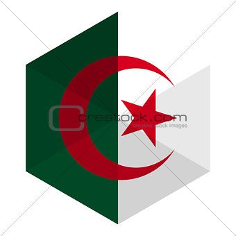 Algeria Flag Hexagon Flat Icon Button