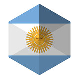 Argentina Flag Hexagon Flat Icon Button