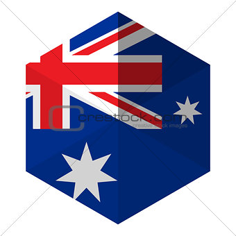 Australia Flag Hexagon Flat Icon Button