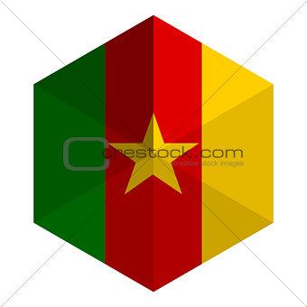 Cameroon Flag Hexagon Flat Icon Button
