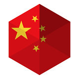 China Flag Hexagon Flat Icon Button