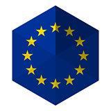 Europe Flag Hexagon Flat Icon Button