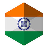 India Flag Hexagon Flat Icon Button
