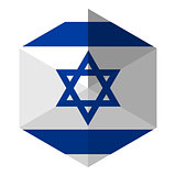 Israel Flag Hexagon Flat Icon Button