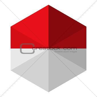 Monaco Flag Hexagon Flat Icon Button