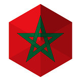 Morocco Flag Hexagon Flat Icon Button