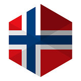Norway Flag Hexagon Flat Icon Button