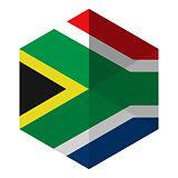 South Africa Flag Hexagon Flat Icon Button
