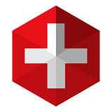 Switzerland Flag Hexagon Flat Icon Button