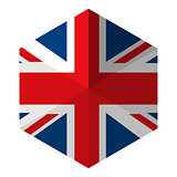 UK Flag Hexagon Flat Icon Button
