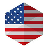 USA Flag Hexagon Flat Icon Button