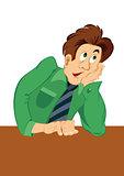 Retro hipster man thinking in green shirt
