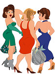 Three cartoon women with bags talking after shopping