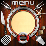 Wooden Menu with Metal Porthole