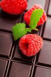 dark chocolate bar with raspberry