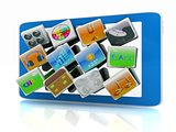 Touchscreen Smart Phone with Cloud of Media Application Icons