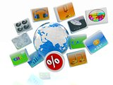 Earth and percent with cloud of media application Icons