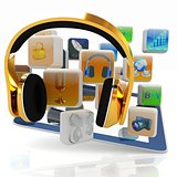 Phone gold on tablet pc with cloud of media application Icons