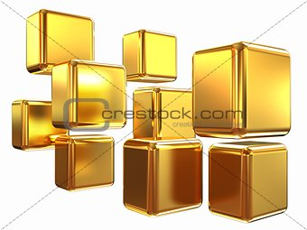 3d abstract gold cubs