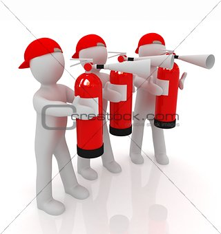 3d mans with red fire extinguisher