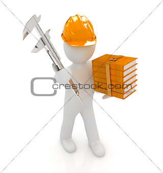 3d man engineer in hard hat with vernier caliper and best techni