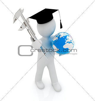 3d man in graduation hat with Earth and vernier caliper