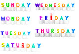 Set of 3d colorful cubes with white letters - days of the week