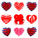 Set of 3d beautiful red heart