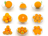 Set of half orange on a glass plate