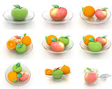 Set of citrus on a glass plate