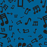 Musical Notes Seamless Pattern Blue