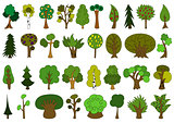 Set of cute doodle trees, tree doodles isolated