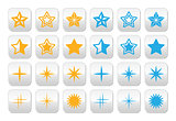 Stars yellow and blue stars buttons set