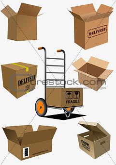 Carton boxes collection. Vector illustration