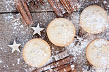 Warm image of Christmas foods on rustic style wooden background