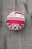 Generic machine made Christmas bauble ornament on rustic style b