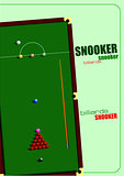 Snooker table and cue poster. Billiards. Vector illustration