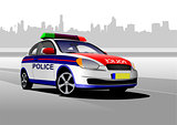 Police car on city panorama background. Vector illustration.