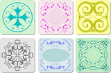 Six decorative finishing ceramic tiles. Vector illustration