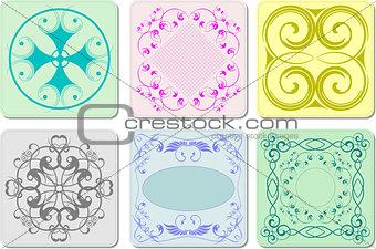 Six decorative finishing ceramic tiles. Vector illustration