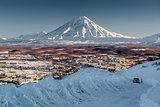 Petropavlovsk-Kamchatsky cityscape and Koryaksky volcano