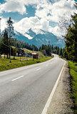Asphalt road to the High Tatras. Poland